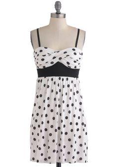 Dot You Forget It Dress - Black, Polka Dots, Casual, Empire, Spaghetti Straps, Summer, Short, White, Graduation