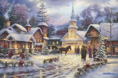 Faith Runs Deep by Chuck Pinson ~ church ~ village ~ winter ~ Christmas