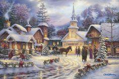 Faith Runs Deep by Chuck Pinson ~ church ~ village ~ winter ~ Christmas