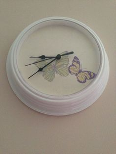 White Wall Clock Finished in Laura Ashley Summer Meadow Butterfly Wallpaper