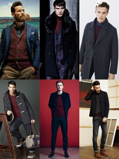 Men's Burgundy Knitwear Outfit Inspiration Lookbook