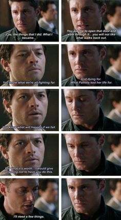 [gifset] Deleted Scene 4x16 On The Head Of A Pin #SPN #Dean #Castiel