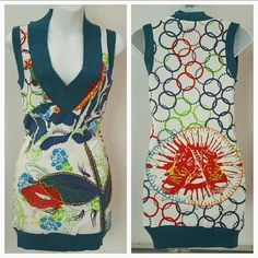"""Love to give to others"" top/dress ""Love is to give to others"" top/dress Could be worn as a top or mini dress.  Beads, embroidered details, threaded yarn and button details. Ribbed details at v-neck and button.  Length approx 29.5 Bust approx 14.5  100%cotton Tops"