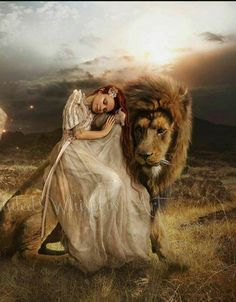 Woman embracing little lamb while resting her head on Lion of Judah. Very touching prophetic art. Christian Warrior, Christian Art, Lion And Lamb, Lion Wallpaper, Leo Lion, Bride Of Christ, Prophetic Art, Lion Of Judah, Lion Art
