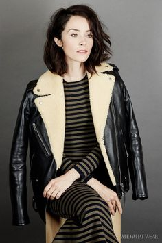 Abigail Spencer wears a striped dress with a shearling-lined moto jacket