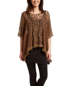 Another great find on #zulily! Pretty Angel Coffee Lace-Inset Linen-Blend Sidetail Tunic by Pretty Angel #zulilyfinds