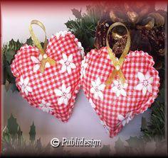 Coussins coeur en tissu motif vichy organza noël (2p) : Matériel Couture par orkan28