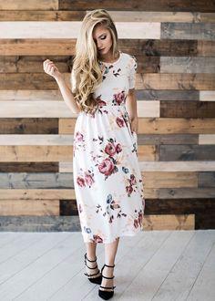 Summer Dresses - Plus Size Dresses - Jumpsuits - Swimwear - Bikini - Tankini Long Sleeve Short Dress, Dresses Short, Simple Dresses, Casual Dresses, Casual Outfits, Short Sleeves, Dress Long, Floral Dress Outfits, White Floral Dress