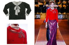 Clockwise from top left: Elsa Schiaparelli's trompe l'oeil sweater, 1927; Marc Jacobs Spring 2016; detail of Jacobs's sweater