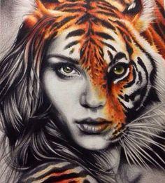Woman in Tiger by Mehmet Erçin;
