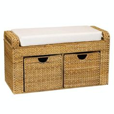 Cushioned Storage Seat with 2 Drawers