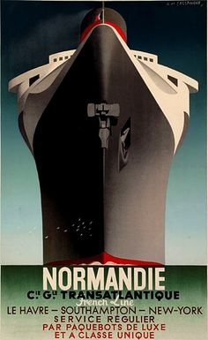 example of art deco: More details This is a poster for SS Normandie. The poster art copyright is believed to belong to Compagnie Générale Transatlantique. Further details: SS Normandie poster by Adolphe Mouron Cassandra (wikipedia) Retro Poster, Art Deco Posters, Poster S, Vintage Travel Posters, Cool Posters, Drive Poster, Paris Poster, Hanging Posters, Design Posters