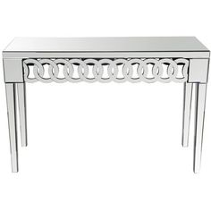Lend a touch of glam to the foyer or living room with this mirrored console table, featuring interlocking rings for a touch of geometric flair.