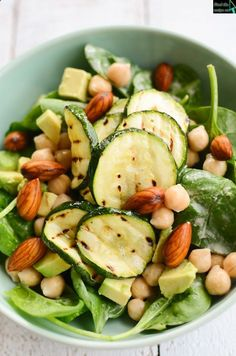 Chickpea Spinach Avocado Zucchini Salad