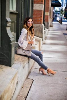 The No-Fail Fall Color Combo. Free People Sweater, Express Gray Jeans, Chloe Medium 'Faye' Bag (in 'Motty Grey' color