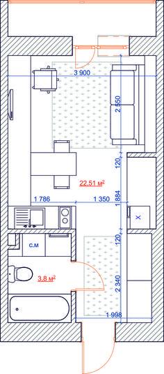 Квартира студия 26,3 м.кв - SMART&MINI. Квартира до 30 кв. метров | PINWIN - конкурсы для архитекторов, дизайнеров, декораторов