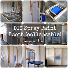 ### Build your own spray paint booth | deeconstructed.com hinged booth walls fold flat against garage wall