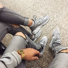 Follow ||UnitedNationz|| for the latest streetwear all grey kicks nikes gold watch streetwear couple style