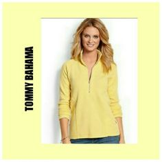 "TOMMY BAHAMA HALF ZIP PULLOVER TOMMY BAHAMA HALF ZIP COLLAR PULLOVER Pastel Yellow, Half Zip with Collar Slimming Lines 63% Cotton/ 33% Tactel/ 4% SPANDEX Arm Length 20"" Back Length 26"" Arm pit to Arm Pit 20"" No tag but Like New Tommy Bahama Tops Sweatshirts & Hoodies"