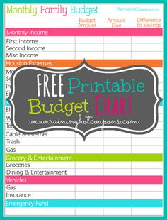 FREE Printable Monthly Budget Chart *Get more FRUGAL Articles, tips and tricks from Raining Hot Coupons here* *Pin it* by clicking the PIN button on the image a Tips And Tricks, Monthly Budget Printable, Free Printables, Budgeting Finances, Budgeting Tips, Monthly Expenses, Budgeting Worksheets, Budget Chart, Budget Template