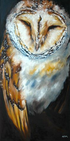 Owl art BLUE LOFT 40x20 inches - on linen By Jennifer Mack