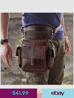 Le'aokuu Mens Genuine Leather Bike Cycling Waist Hip Bum Fanny Pack Drop Leg Bag (Coffee): It's a little bag around your waist and leg. It looks to sit in the perfect location for east access while riding or climbing. Waist Purse, Herren Style, Leather Fanny Pack, Outfit Trends, Hip Bag, Leather Accessories, Fashion Accessories, Leather Design, Leather Men