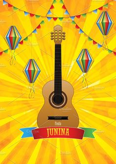 Illustration about Festa Junina poster with paper lanterns and paper garlands on yellow background, vector illustration. Illustration of background, decoration, graphic - 147111137 Paper Lanterns, Paper Garlands, Graphic Illustration, Vector Illustrations, Yellow Background, Vector Free, Creative, Poster, Painting