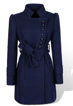 Dark Blue Puff Sleeve Women Stand Collar Wool Coat M/L @YIF11582dbl
