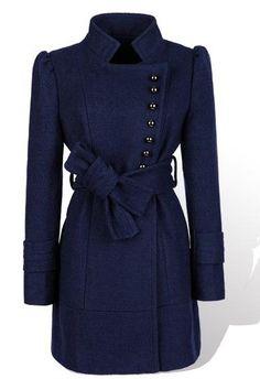 Dark Blue Puff Sleeve Women Stand Collar Wool Coat M/L @YIF11582dbl