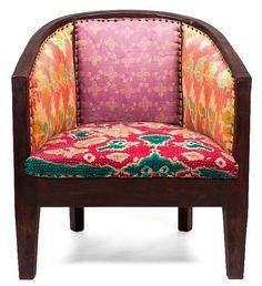 Club Armchair Kantha Upholstered - Sheherazade