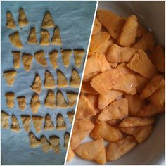 """Keto Recipe: Better than Goldfish - 30 fish, 1.2g net carbs - Ingredients: Sharp Cheddar, butter, coconut flour, salt, onion powder - that's it! (""""The recipe yields about 60 total chips, and when I make them into triangles I end up with about 50."""") / Ruled Me shared via https://facebook.com/lowcarbzen"""