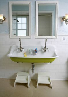 Really love the double deep sink for kids.  Makes it big enough they aren't bumping or splashing each other but deep enough they can play boats.