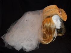 Texas Cowgirl Hat Bachelorette Party Veil