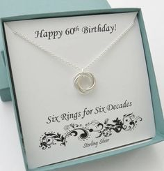 60th Birthday Gifts For Women Sterling Silver Necklace 6th Anniversary Six Rings