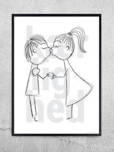 Super flot kærlighed plakat, som passer perfekt til det enkle og stilrene soveværelse. Hæng den søde og romantiske plakat op over sengen og gå glad i seng.
