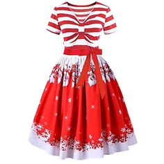 7deb82fe6ce9 Women's Vintage Christmas Santa Claus Striped Printed A-Line Short Sleeve  Swing Party Dress(