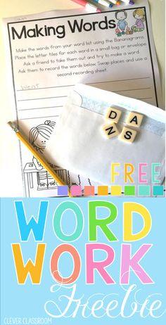 Word work activities free to download.