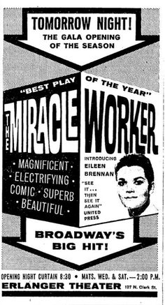 "Theatre Programme for the 1961 Premiere Chicago Production of the William Gibson play ""The Miracle Worker"" at the Erlanger Theatre."