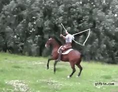 do u see that when the horse jumps it kicks with its back  legs??????
