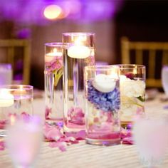 Floating Candle and Flower Centerpieces