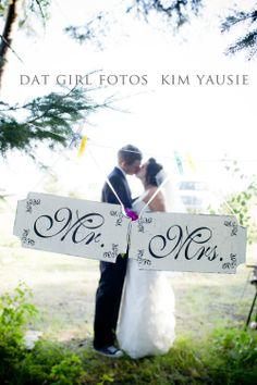 Mr and Mrs Wedding signs SINGLE SIDED set 12x6. $31.95, via Etsy.