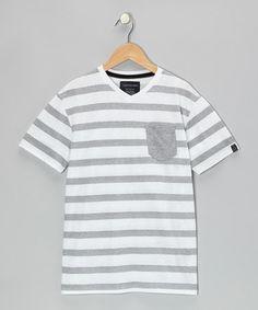 White Stripe V-Neck Tee - Infant by Calvin Klein Jeans #zulily #zulilyfinds