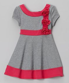 Take a look at this Gray & Pink Rosette Dress - Toddler by Zunie & Pinky on #zulily today!