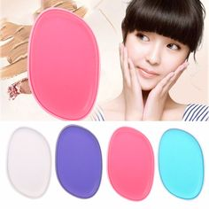 New Square Silisponge Silicone Gel Puff Foundation Makeup Puff Cosmetic Sponge Blue/Purple/Transparent/Red