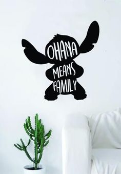 Ohana Means Family Stitch Silhouette Decal Sticker Wall Vinyl Decor Art Movie Kid Teen Lilo Disney Inspirational Ohana Means Family The latest in home decorating. Beautiful wall vinyl decals, that are simple to apply, are a great accent piece Vinyl Decor, Vinyl Wall Decals, Cute Dorm Rooms, Cool Rooms, Lilo Disney, Disney Diy, Frases Disney, Lilo Et Stitch, Disney Bedrooms