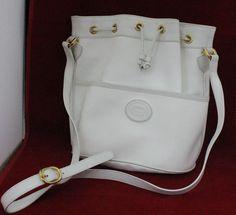 "Vintage White Gucci Cross Body Shoulder Bag Bucket Tote Purse 9 5"" x 9 5"" | eBay"