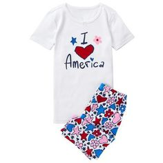 Toddler Girls White Americana Shortie 2-Piece Gymmies by Gymboree