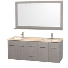 Wyndham Collection Centra 60 inch Double Bathroom Vanity in Gray Oak, White Ivory Marble Countertop, Square Porcelain Undermount Sinks, and 58 inch Mirror, Beige