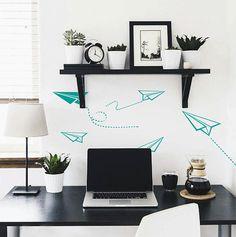 Planes wall decals-Paper plane vinyl decals-Office vinyl decals-Boy's room wall decor-Flying planes-Nursery wall decals-Dorm vinyl sticker