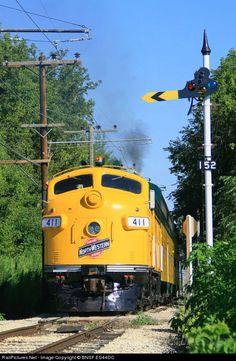 CNW 411 Chicago & North Western Railroad EMD F7(A) at Union, Illinois by BNSF ES44DC